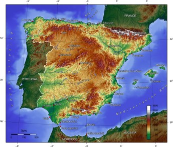 Spain -Topograhic Map