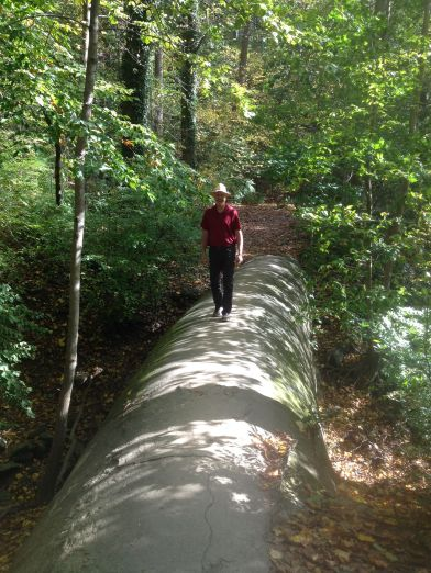 brian-on-water-pipe-wissahickon-creek