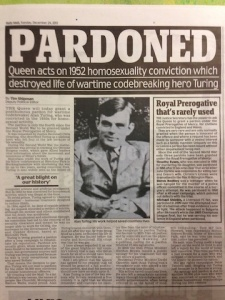 Newspaper Article on Alan Turing Pardon