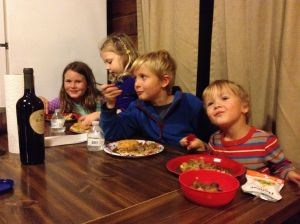 peggys-grandkids-at-dinner-cabin-in-nockamixon-state-park