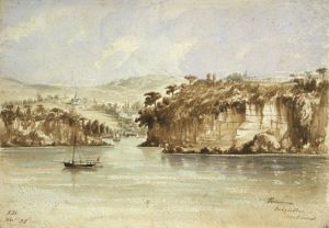 Taurarua Judges Bay - 1860 Watercolor by Thos Bent