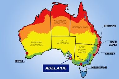 Australia Map Showing Adelaide