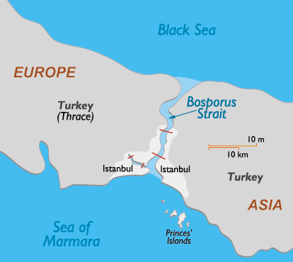 Bosphorus Strait Map - Close-up