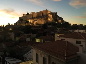 Athens - Acropolis at Dusk from Rooftop Bar