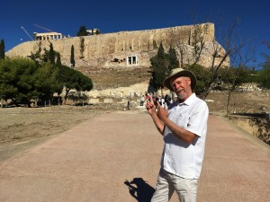 Athens - Frank Pointing Up To Acropolis