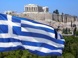 Greek Flag with Acropolis
