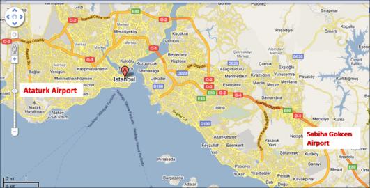 Map of Ataturk and Sabiha Gokcen Airports