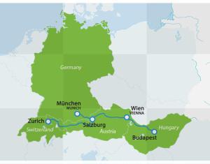 Map of Munich-Salzburg-Vienna-Budapest