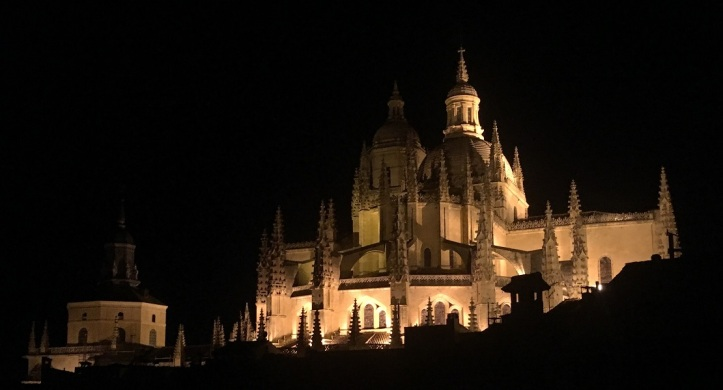 Segovia Cathedral from apartment at night