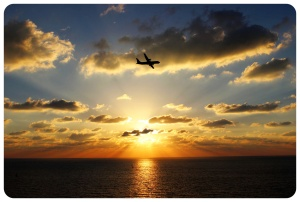 Tel Aviv Sunset With Airplane