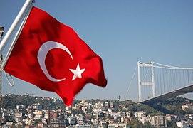 Turkey Flag with Bosphorus Bridge