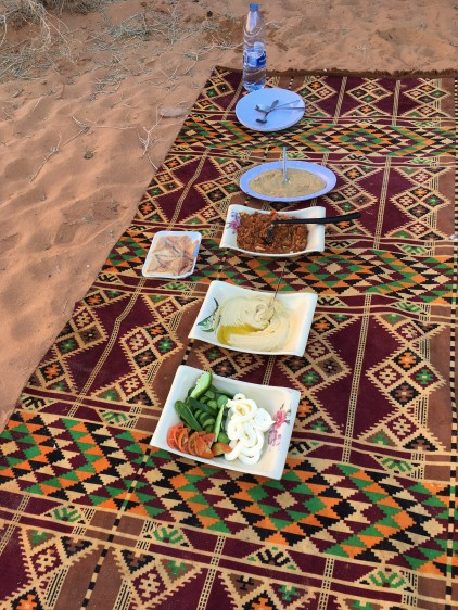 Wadi Rum - Lunch Spread on Blanket