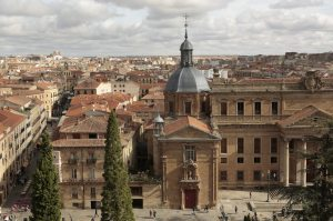 Salamanca University Aerial View - San Sebastian Church in Foreground