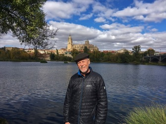 Frank at Rio Tormes with Salamanca in background