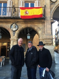 Three Amigos at Plaza Major with Spain Flag